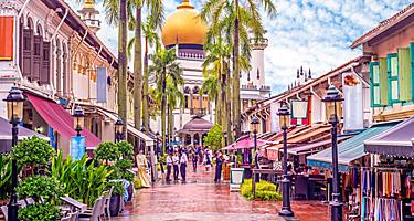 View of the street with Masjid Sultan in the background in Singapore