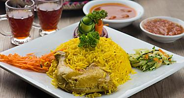 Chicken mandi, traditional seasoned rice Arab food in Sir Bani Yas, United Arab Emirates