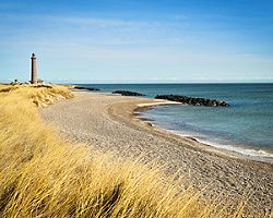 A beach in Skagen, Denmark with the Skagen Lighthouse in the distance
