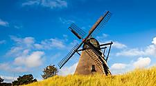 A historic windmill in Skagen, Denmark