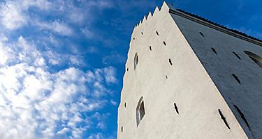 A close-up view of The Sand-Covered Church in Skagen, Denmark