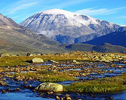 View of the scenic mountain landscape in Jotunheimen National Park near Skjolden, Norway