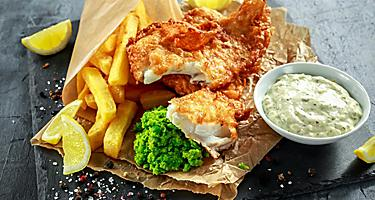 Traditional fish and chips in England