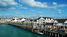A waterfront quayside in Southampton, England