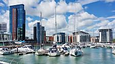 Yachts docked at the Ocean Village Marina in Southampton, England