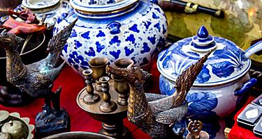 Various antiques at a market