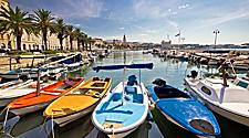Colorful boats on the harbor of Split, Croatia
