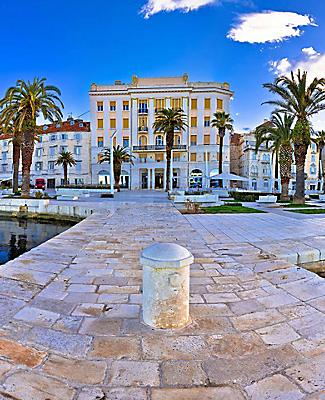 Panoramic view of the waterfront from the pier in Split, Croatia
