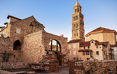 Old brick buildings and bell tower of Split, Croatia