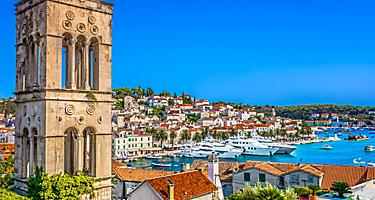 Colorful scenery of the mediterranean town of Hvar, near Split, Croatia