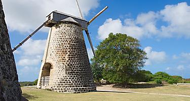 Stone windmill tower at Betty's Hope, St. John's, Antigua