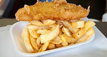 Fish and Chips on a white tray