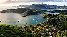 Sunrise at Shirley Heights, The Lookout, with views of the Falmouth and English Harbors, St. John's, Antigua