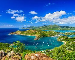Sunny day at Shirley Heights, The Lookout, with views of the Falmouth and English Harbors, St. John's, Antigua