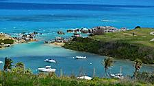 Beautiful view of Achilles Bay with boats in St. George's, Bermuda