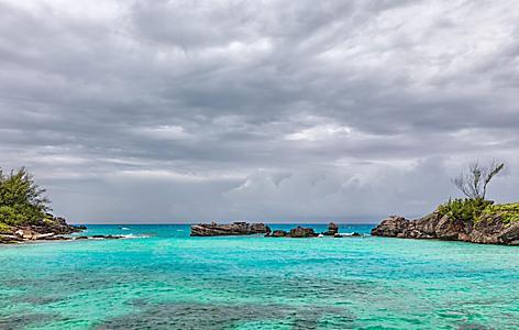Dark clouds over Tobacco Bay Beach in St. George's, Bermuda