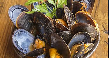 A bowl of steamed mussels