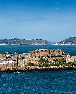 View of Castle Cornet in Saint Peter Port, Channel Islands