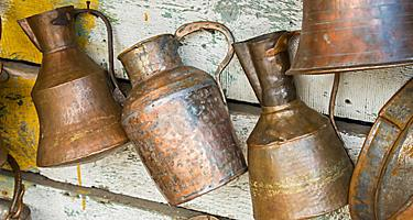 Antique copper cans