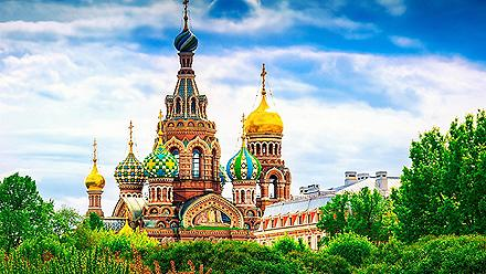 View of the famous Church of the Savior on Spilled Blood in St. Petersburg, Russia