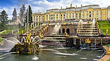 View of the Peterhof Palace and fountains in St. Petersburg, Russia
