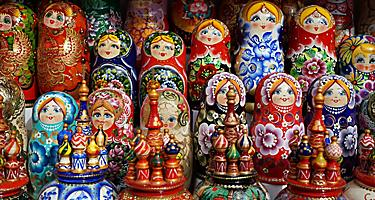 Wooden dolls in St. Petersburg, Russia