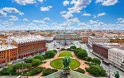 View of Saint Isaac's square in St. Petersburg, Russia