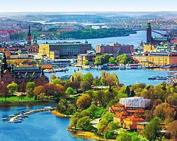 An panoramic aerial view of Stockholm, Sweden