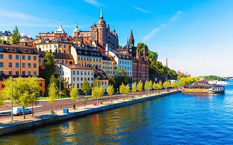 Coastal view of the old town in Stockholm, Sweden