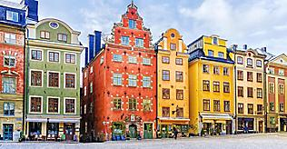 Colorful buildings in Stockholm, Sweden