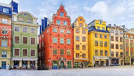 Colorful buildings in Stockholm, Sweden