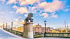A lion statue near the Royal Palace in Stockholm, Sweden