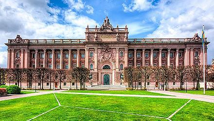 The Riksdag parliament house in Stockholm, Sweden