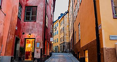A narrow cobblestone street in Stockholm, Sweden