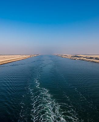 Panoramic view of the Suez Canal