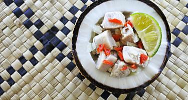 A raw fish salad in a coconut in Fiji