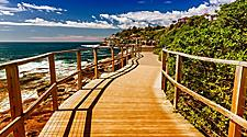 A coastal walkway near Bondi Beach in Sydney, Australia