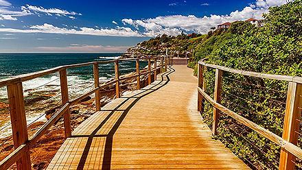 A coastal walkway near Bondi Beach in Sydney, Australia