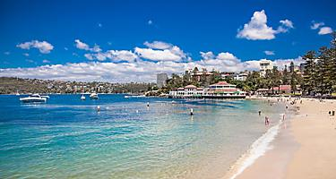 People enjoying Manly beach in Sydney, Australia