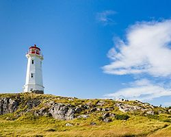 The Louisbourg Lighthouse during a beautiful day