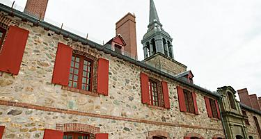 Close up view of the exterior of Fort Louisbourg