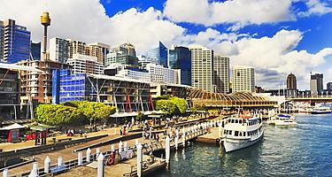 Boats docked on the pier at Darling Harbour in Sydney, Australia