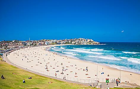 People relaxing on Bondi Beach in Sydney, Australia