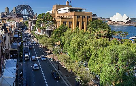 Street view of The Rocks in Sydney, Australia