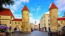 The twin towers of the Viru Gate in Tallinn, Estonia