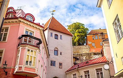 Close up view of buildings in Tallinn. Estonia