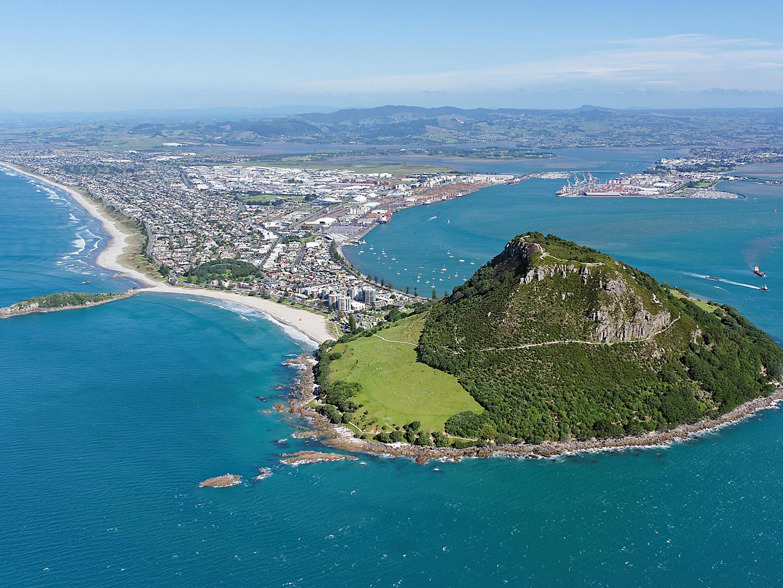 Tauranga, New Zealand, Aerial view Mount Maunganui