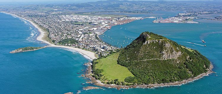 An aerial view of Mount Maunganui