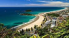 Panoramic coastal view of the beach and resorts in Tauranga, New Zealand