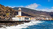 View of the Candelaria Church on the coast of Tenerife, Canary Islands